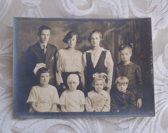 Eight Is Enough - Antique Edwardian Photo of a Family of Eight Children
