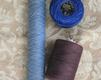 Three Vintage Cardboard Spools of Cotton Thread & Floss - Blues and Brown