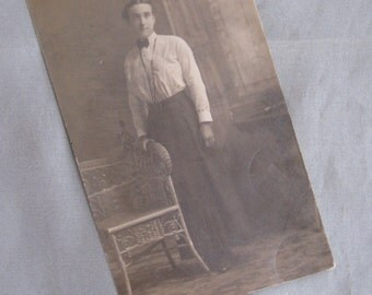 Meet Henrietta - Antique Late Victorian Photo Postcard RPPC- 1890s Lady by Wicker Chair, IDd