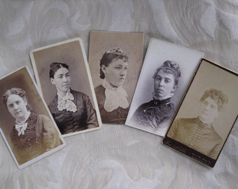 Five Wonderful Victorian Ladies Antique CDV Photos - From the Mid-Atlantic and New England States
