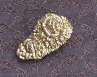 VIntage Gold Rose Dress Clip