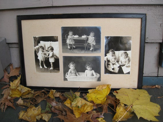 Price Reduced - Framed Photo Collage of Twins Girls from 1920/1930s - Sisters, Birthday