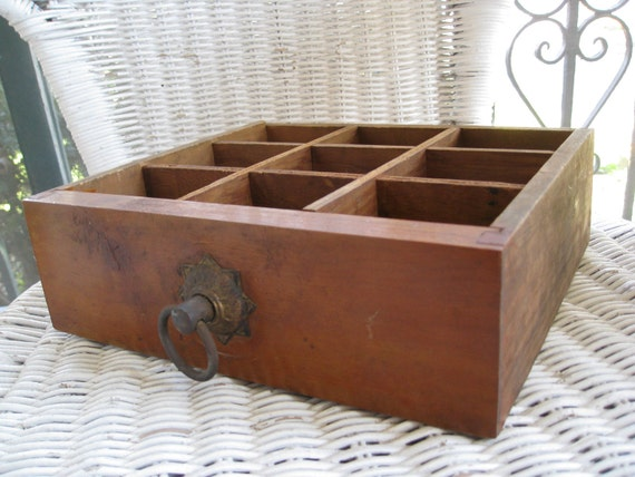 Beautiful Antique Wood Divided Drawer With Brass Ring Pull
