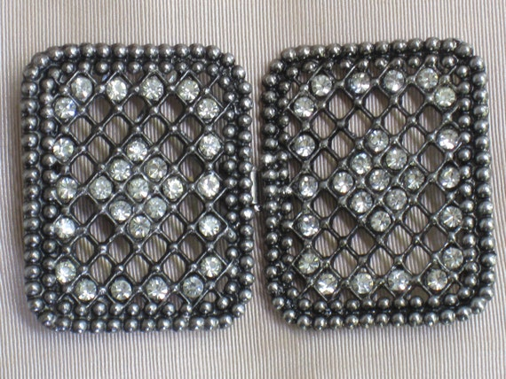 Fabulous Large Two-Piece Metal Buckle With Rhinestones - VIntage