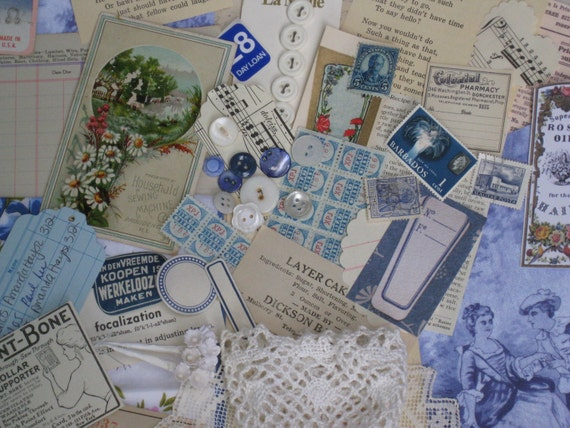 Blue & White Picnic Jumbo Inspiration Kit With a Pail  - Scrapbooking Collage Paper Crafting Vintage - 92 Pieces