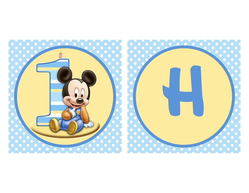 Baby Mickey Mouse Birthday Banner Matches by MarysPartyDesigns
