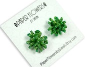 Paper Earrings - Green Sparkle Paper Flower Post Earrings - Paper Flowers by Sarah