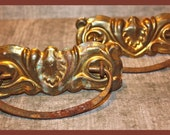 Two Vintage Ornate Brass Drawer Pulls