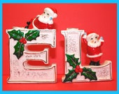 Two Vintage 1950s Christmas Candle Holders Featuring Santa