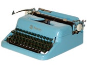 RESERVED for M - Revitalized Blue MBM Mercury Typewriter Professionally Refurbished Portable & Two New Ribbons