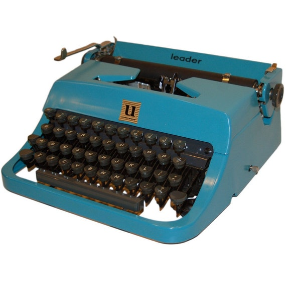 Revitalized Blue Underwood Leader  Typewriter Professionally Refurbished Portable & Two New Ribbons