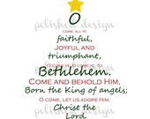 O Come All Ye Faithful Christmas Tree Art, Print At Home, Digital File