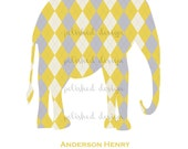 Modern Grey and Yellow Argyle Elephant Printable Nursery Art