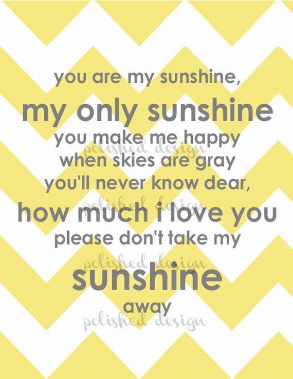 Modern Grey and Yellow Sunshine Chevron Printable Nursery Art
