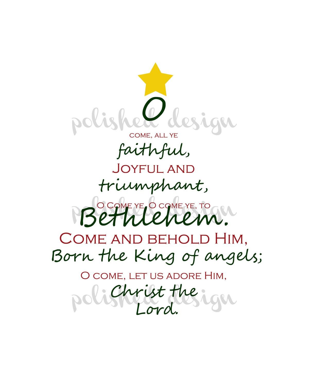 O Come All Ye Faithful Christmas Tree Art Print At Home