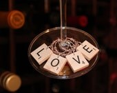 Scrabble Tile LOVE Wine Charms with Pink Swarovski Crystals