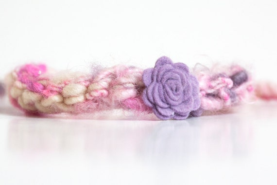 sale - Newborn tieback headband with flower - purple, cream, hot pink - Spring Collection