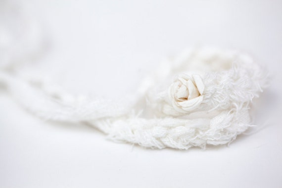 Newborn tieback headband with flower - white, ivory - Spring Collection