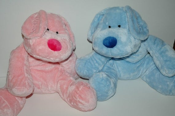 Personalized embroidered BLUE - ONLY soft stuffed velour animal dog great kids toy gift