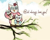 "Children's Wall Art Print - Owl Always Love You 8x10"" - Kid's Nursery Room Decor"