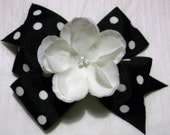 black and white hair bow with flower  women girls baby