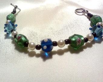 bracelet beaded lampwork black and glass beads