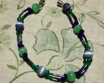 bracelet beaded womens teens blue fiber optic and green jade