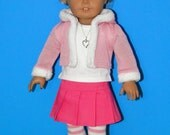 """6 PC Set - Jacket, Skirt, T-shirt, Tights, Shoes and Necklace - fits American Girl or other 18"""" dolls"""