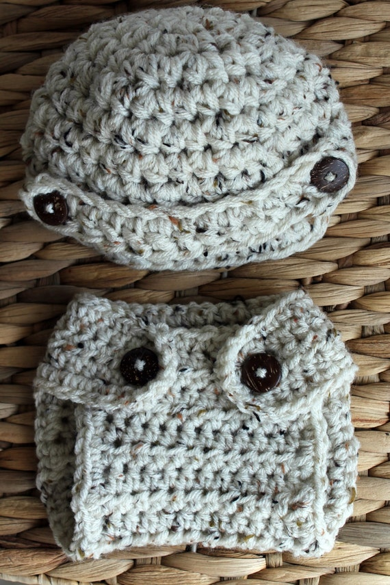 Crochet Newsboy Brimmed Beanie Hat and Diaper Cover Set for Baby Boy - Oatmeal Tweed with Coconut Wood Buttons - Newborn - Ready to Ship