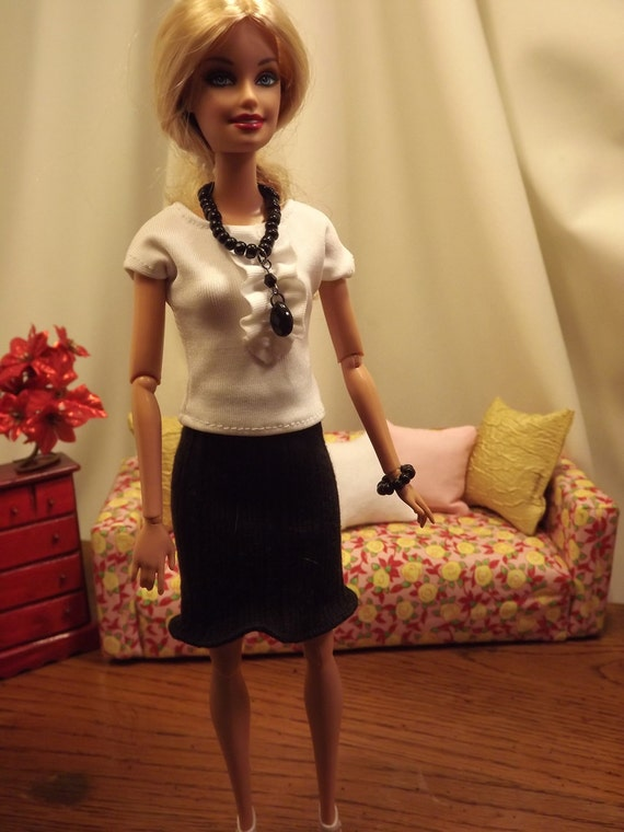Barbie Outfit--Stretch Knit Black Skirt with Ruffled White Blouse