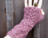 Fingerless Gloves Women Knit Tweed Purple-Pink Cable Wristwarmers with Lace Cuff