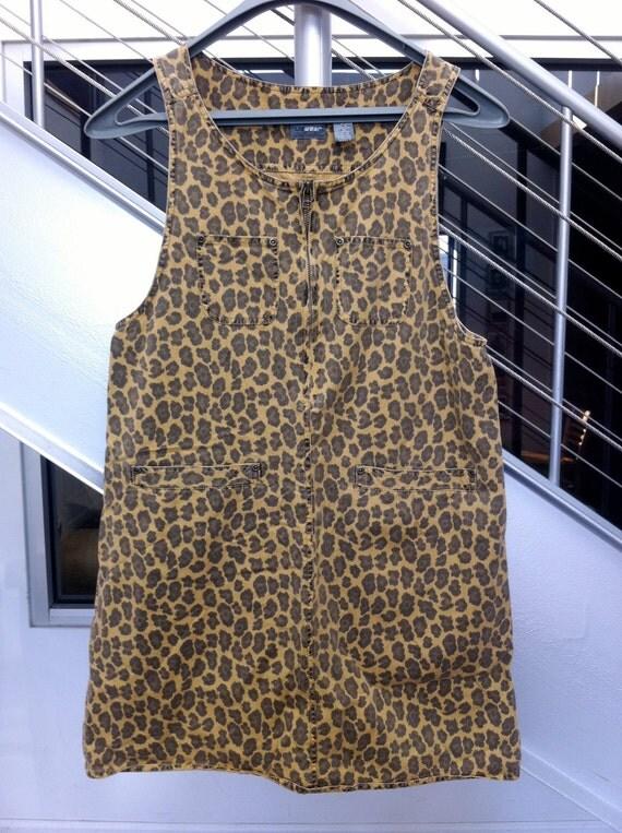 Vintage Leopard Print Jumper Dress
