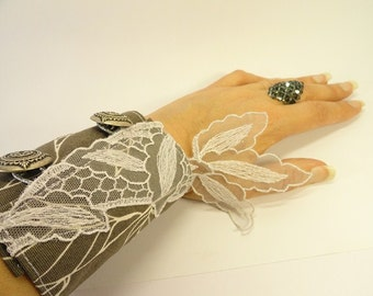 Fabric WRIST Cuff - Travel Sewing Kit - Gray Fabric Hand CUFF - Card Holder - Money Holder - FASHION Cuff