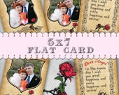 5x7 Valentine Photo Card Photoshop Templates. WCC/Miller's Lab.  Postage Love Valentine's Day