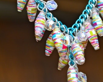 Vibrant Paper Bead Teal Necklace