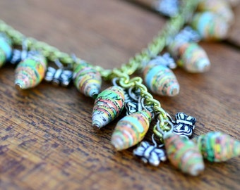 Paper Bead Necklace - Spring Garden - Lime Green with Butterflies