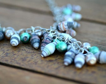 Mocha and Mint Paper Bead Necklace