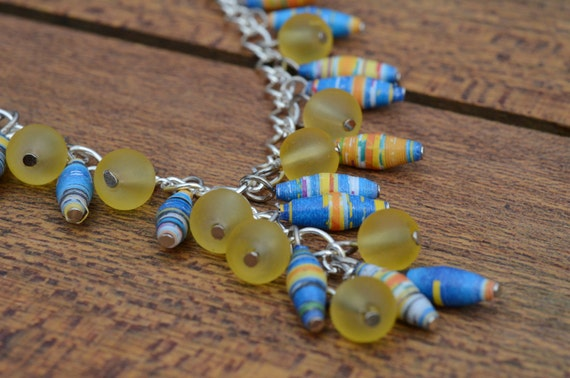 Paper Bead Necklace - Yellow and Blue