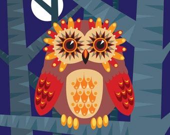 Illustration - 'Owl Eyes 2' print