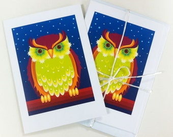 3 x A5 Owl greetings cards printed on re-cycled paper