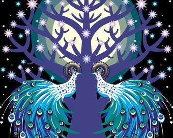 Peacock Tree Print Large
