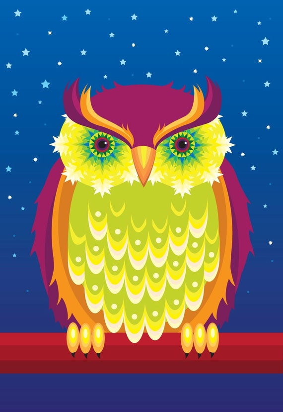 Illustration - 'Starry Eyed' owl print