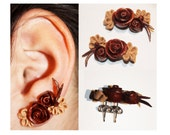 Double-Piercing Flower Arrangement Polymer Clay Earrings