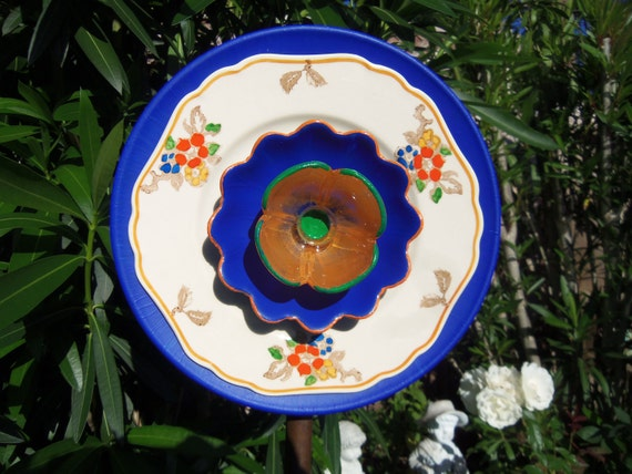 SALE SALE SALE Garden Decor - Glass Flower Garden Art Hand Painted in Blue, Orange and Green - Suncatcher - Lawn Ornament