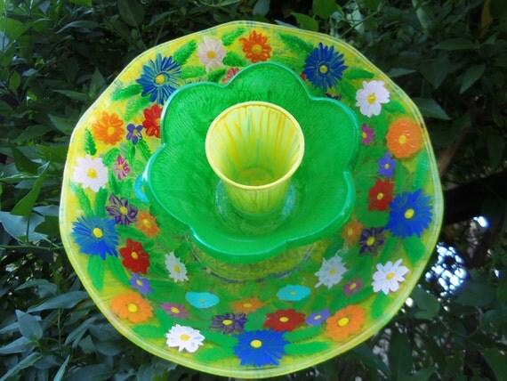 Garden Decor - Glass Flower Garden Art Hand Painted in a Tropical Style   - Suncatcher - Lawn Ornament