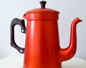 SALE - 1950s Danish coffee pot with bakelit handle - red