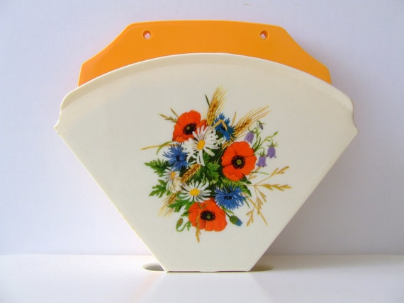 60s Danish coffee filter holder - Alf Rimer - yellow and white with flowers