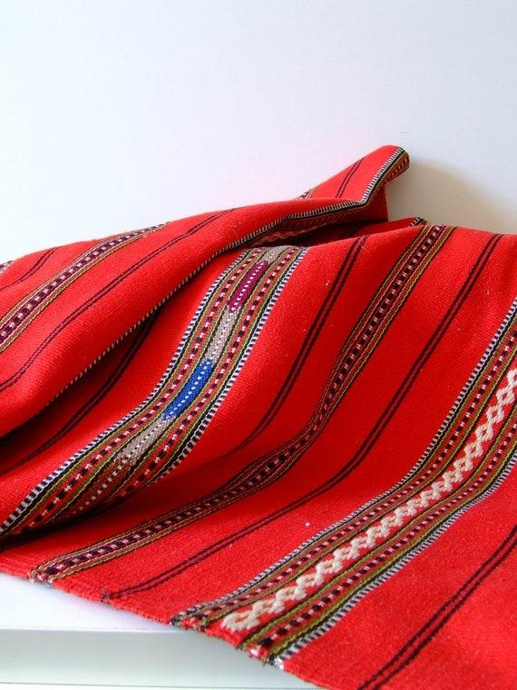 SALE Red vintage table runner - rustic folklore - linen