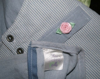 1980's Denim BLUE Dress With Vest and Silk Rose by MISS VICTORIA