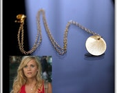 Reese Witherspoon's CIRCLE Necklace - 24k GOLD VERMEIL, Disc Gold Necklace, Brushed Gold Coin Necklace, Sun Drop Necklace